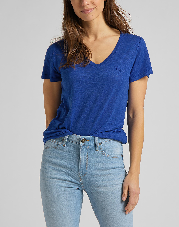 Levně Lee dámské triko  V NECK TEE SURF BLUE