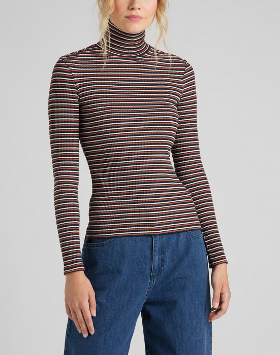 detail LS STRIPED RIB TEE BURNT OCRA