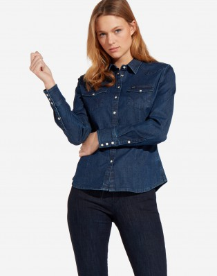 SLIM WESTERN SHIRT DARK INDIGO
